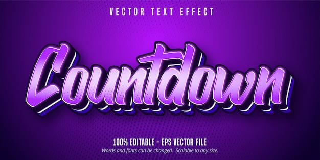 Countdown text, purple color pop art style editable text effect