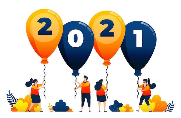 Тема обратного отсчета воздушных шаров для вечеринок и карнавалов концепция