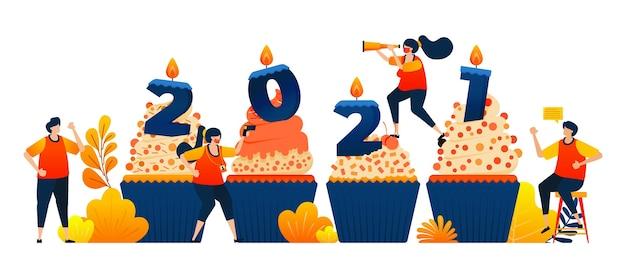 촛불 개념으로 새해를 축하하기 위해 컵 케이크의 카운트 다운 테마