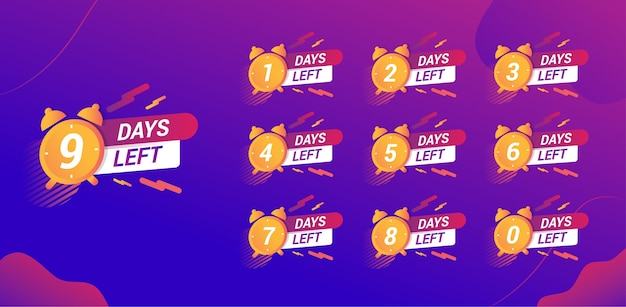 Обратный отсчет времени баннер элемент для кампании продаж в социальных сетях фиолетовый градиент