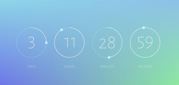 Таймер обратного отсчета круг счетчик времени шаблон табло цифровых часов скоро появится с часами минутами секундами