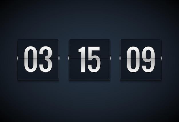 Счетчик часов таймера обратного отсчета. переверните шаблон таймера. отображение информации о минутах, часах. информация о табло.