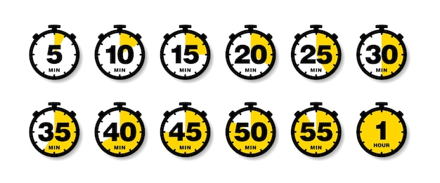 Countdown timer icons set.