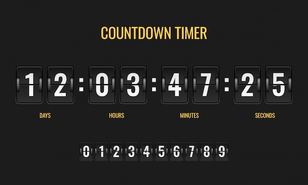 Countdown timer. meter scoreboard digital watch mechanics counter information down number counting clock day template