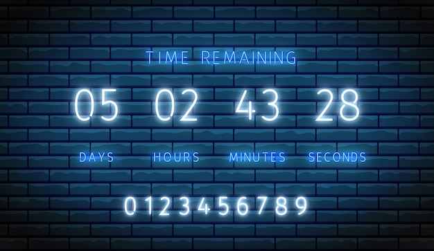 Countdown timer. neon clock counter. . illuminated digital count down. time remaining board. shiny days, hours, minutes and seconds on display. glowing scoreboard on brick wall. led illustration