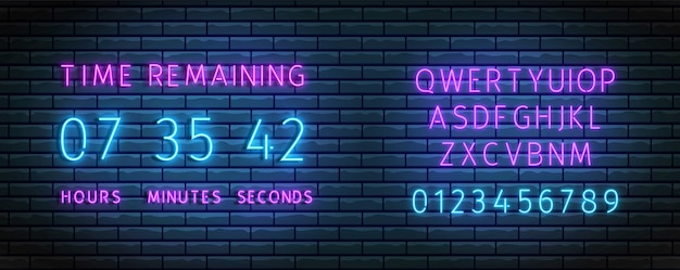 Countdown timer. neon clock counter wiht font.  time remainig board. illuminated count down.