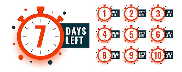 Countdown timer number of days left with clock