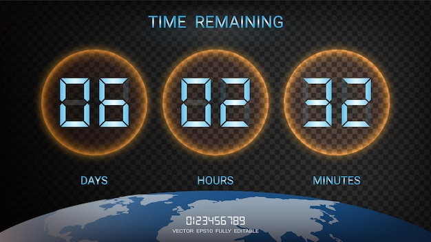 Countdown timer remaining or clock counter scoreboard.