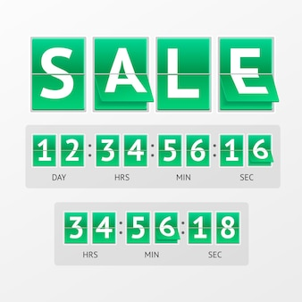 Countdown timer sale. white text on green boards.  mechanical timtable