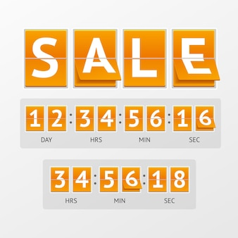 Countdown timer sale. white text on orange boards. the concept of expiration time