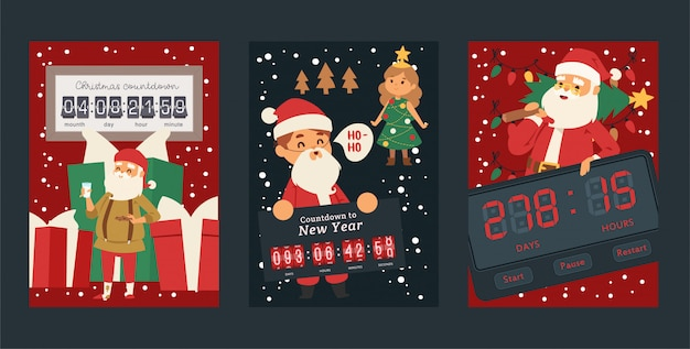 Countdown timer set of posters happy new year, christmas greeting card design element. different buttons such as start, pause, restart. santa claus