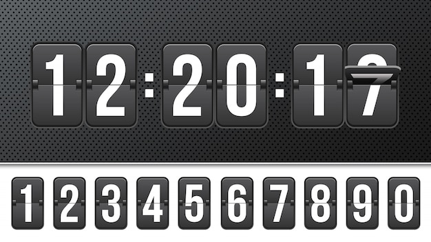 Countdown timer with numbers, clock counter.