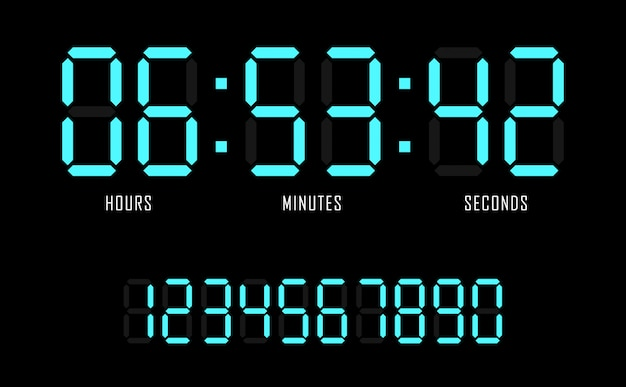 Countdown website vector flat template digital clock timer background.