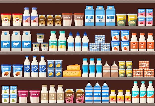 Counter with dairy products. supermarket