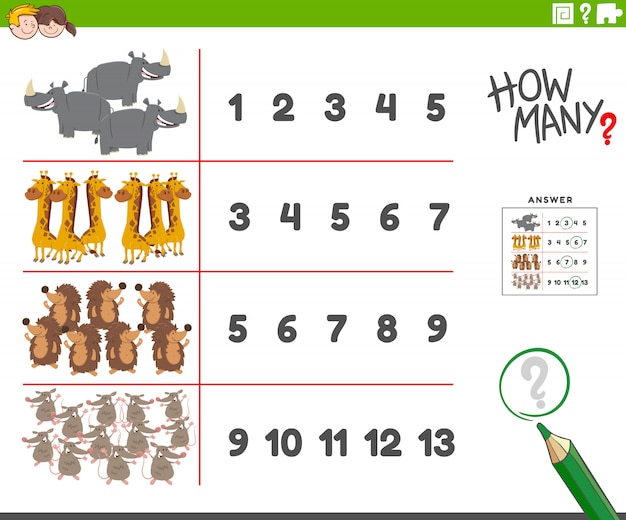 Counting activity with cartoon animal characters