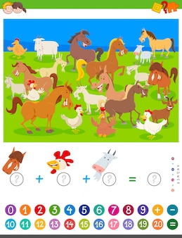 Counting and adding game with cartoon farm animals