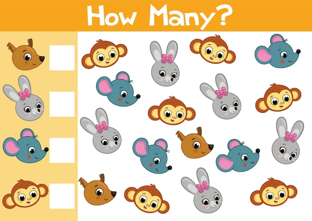 就学前の子供のための動物のゲームのイラストをベクトル形式で数える数はありますか