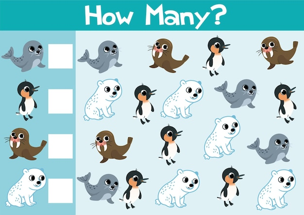 Counting arctic animals game illustration for preschool kids in vector format how many are there