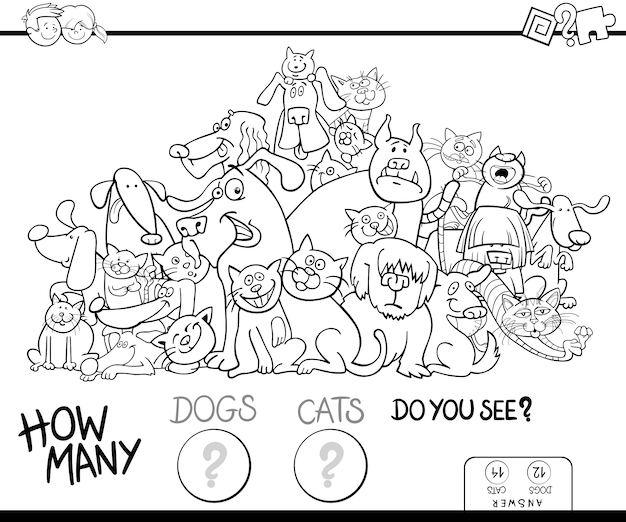 Counting cats and dogs game color book