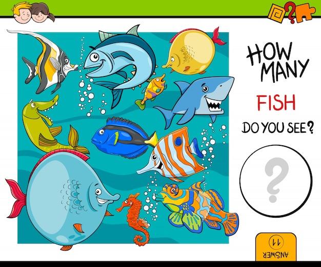 계산 물고기 교육 활동 게임
