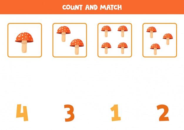 Подсчет грибов мухоморов. математическая игра для дошкольников.
