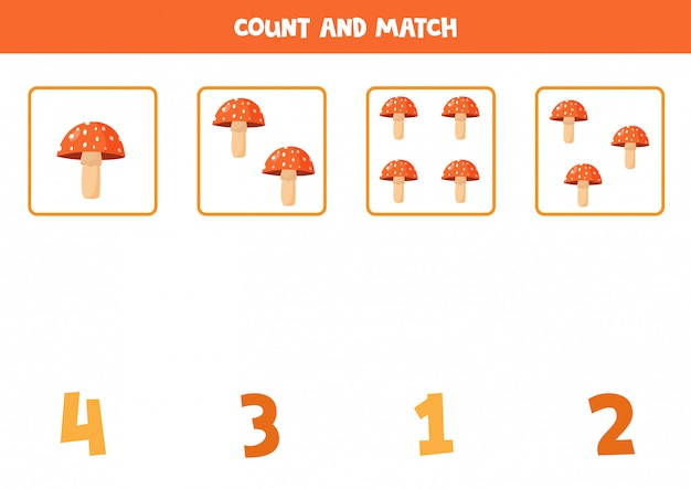 Counting fly agaric mushrooms. math game for preschoolers.