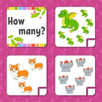 Counting game for children. happy characters. learning mathematics.