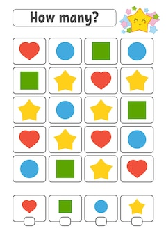 Counting game for children. happy characters. learning mathematics. Premium Vector