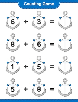 Counting game count the number of anchor and write the result educational children game