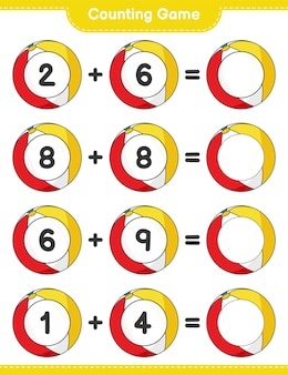 Counting game count the number of beach ball and write the result educational children game