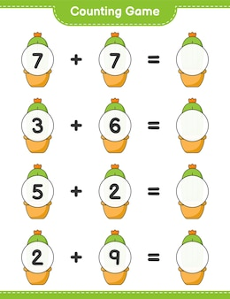 Counting game count the number of cactus and write the result educational children game