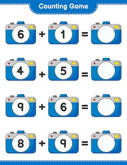 Counting game count the number of camera and write the result educational children game