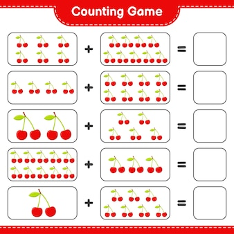 Counting game, count the number of cherry and write the result.