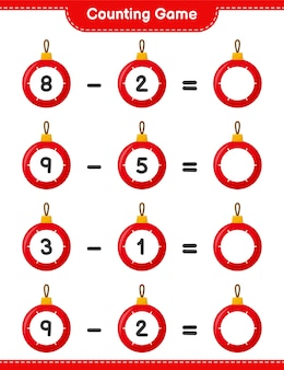 Counting game, count the number of christmas balls and write the result. educational children game, printable worksheet