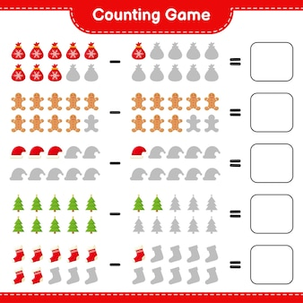 Counting game, count the number of christmas decoration and write the result. educational children game