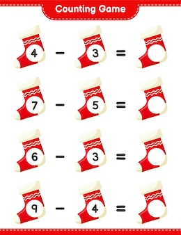 Counting game, count the number of christmas socks and write the result. educational children game, printable worksheet