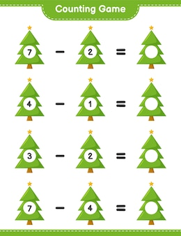 Counting game, count the number of christmas tree and write the result. educational children game, printable worksheet