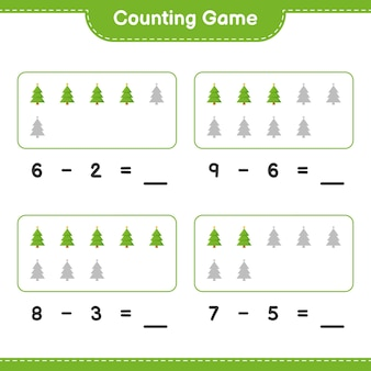 Counting game, count the number of christmas tree and write the result