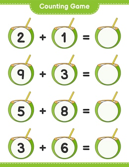 Counting game count the number of coconut and write the result educational children game