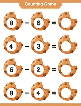 Counting game, count the number of cookies and write the result. educational children game, printable worksheet