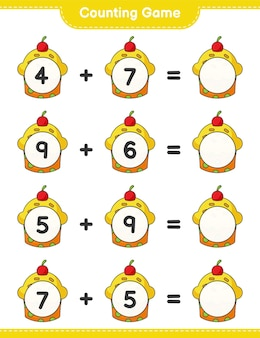Counting game count the number of cup cake and write the result educational children game