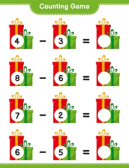 Counting game, count the number of gift boxes and write the result. educational children game, printable worksheet