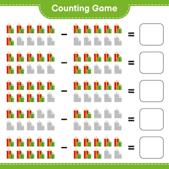 Counting game, count the number of gift boxes and write the result. educational children game