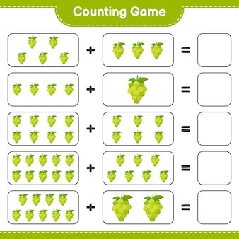 Counting game, count the number of grape and write the result.