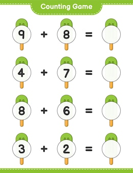 Counting game count the number of ice cream and write the result educational children game