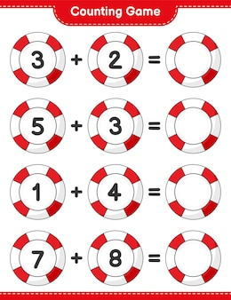 Counting game count the number of lifebuoy and write the result educational children game