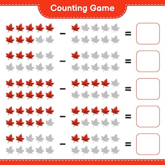 Counting game, count the number of maple leaf and write the result. educational children game, printable worksheet