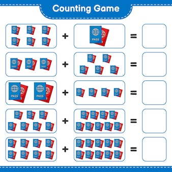 Counting game count the number of passport and write the result educational children game