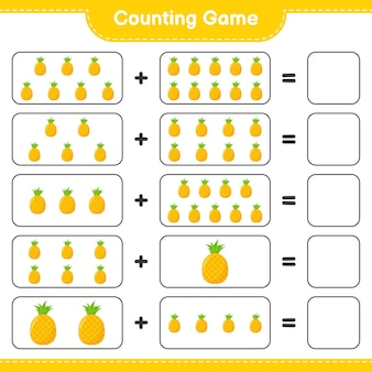 Counting game, count the number of pineapple and write the result.