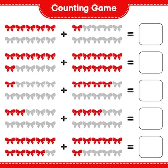 Counting game, count the number of ribbons and write the result. educational children game, printable worksheet